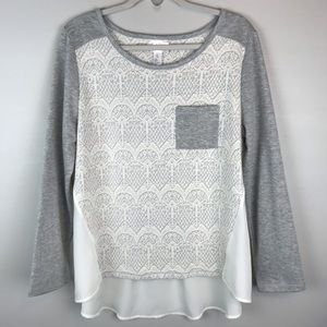 Just be... gray cream lace tunic top shirt blouse